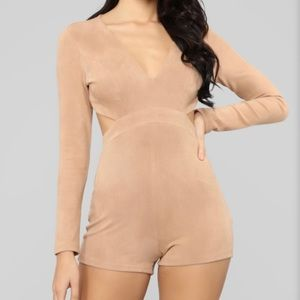 Never Worn Fashion Nova Tan Suede Romper Size M